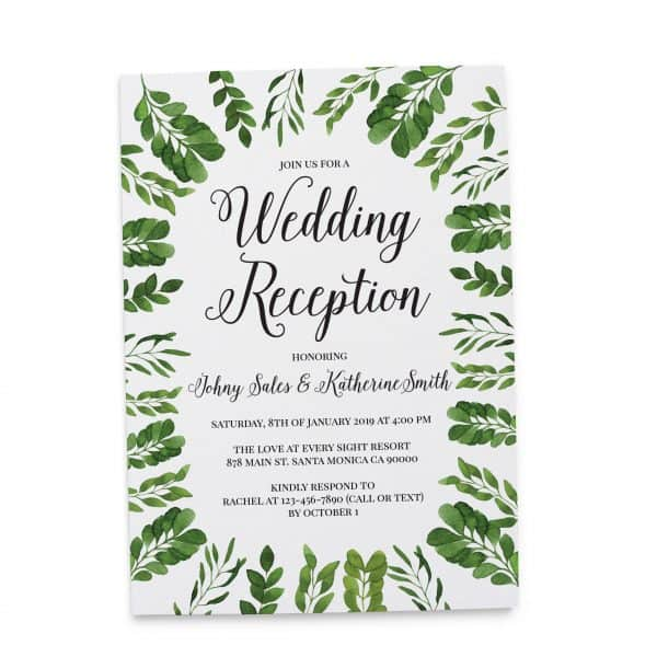 Modern, Simple Wedding Reception Invitation Cards for Casual Party, BBQ Party Cards