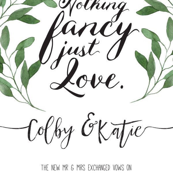 Nothing Fancy Just Love Cards, Green Leaves Elopement Announcements, Elopement Announcement Cards