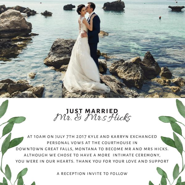 Just Married Elopement Announcement Cards with Leaves, Add Your Own Photo
