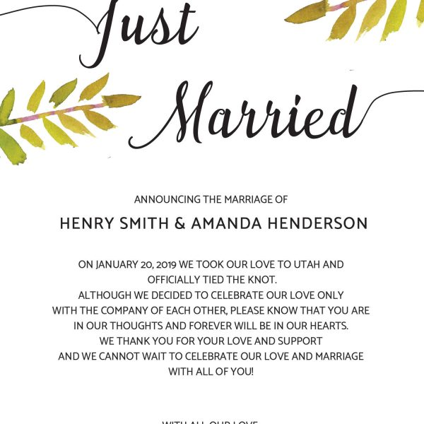Just Married Elopement Announcement Cards with Leaves & Branches