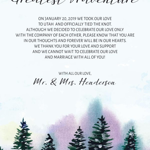 The Beginning of Our Greatest Adventure, Winter Pine Trees Elopement Cards, Elopement Announcement Cards