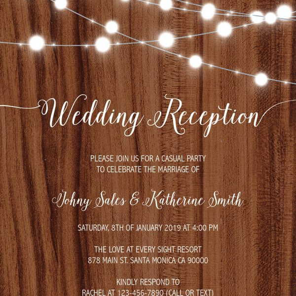 Rustic Wedding Reception Cards, Casual Party Wedding Elopement Cards