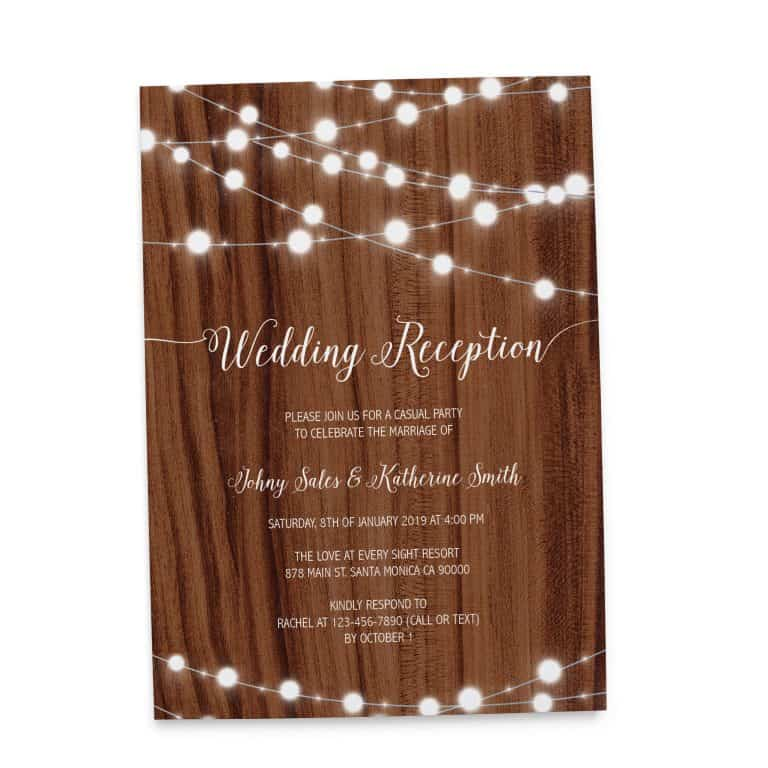 Rustic Wedding Reception Cards, Casual Party Wedding Elopement Cards elopement127