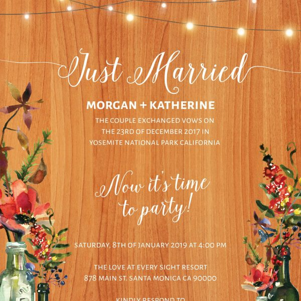 Rustic Wedding Reception Invitation Cards, Fall and Autumn Florals, Casual BBQ Reception Invitation Cards