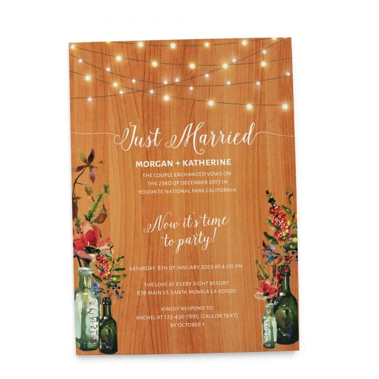 Rustic Just Married Casual BBQ Wedding Reception Party Invitation Cards, Mason Jars & String Lights elopement128