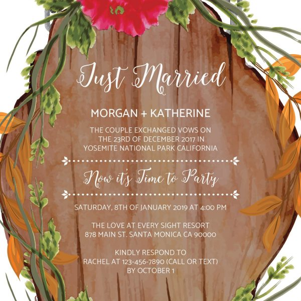 Rustic Just Married Casual BBQ Wedding Reception Party Invitation Cards