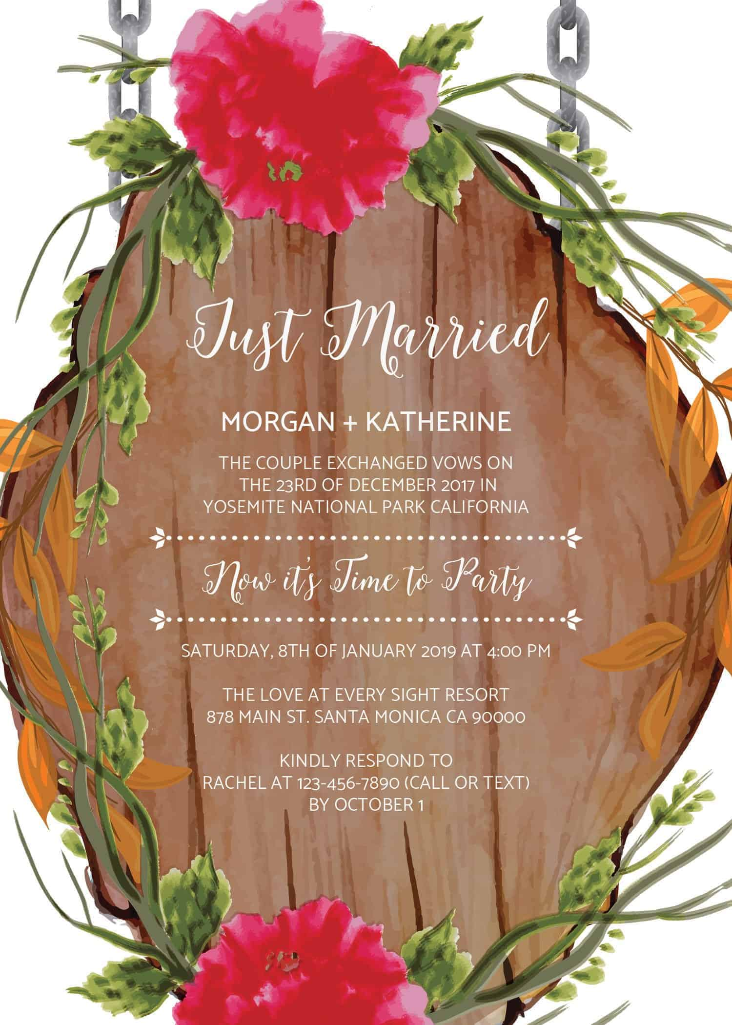 Rustic Just Married Casual BBQ Wedding Reception Party Invitation Cards elopement130