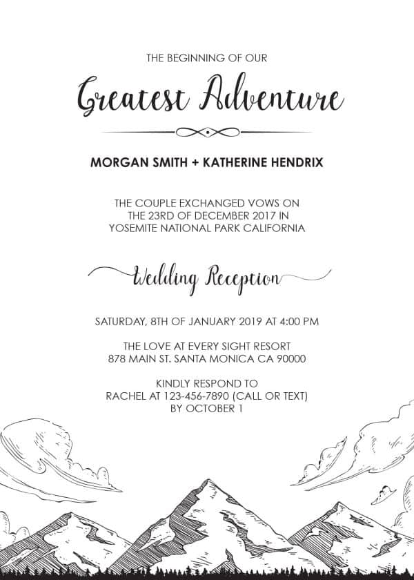 The Beginning of Our Greatest Adventure Wedding Reception Invitation, Simple, Mountains BBQ, Casual Party Wedding Reception Cards