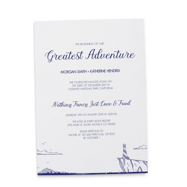 Simple The Beginning of Our Greatest Adventure Wedding Reception Invitation Cards, Beach Lighthouse BBQ Casual Party Reception Invitation