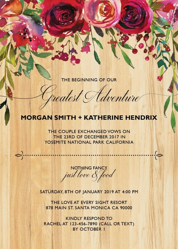 Rustic Elopement Wedding Reception Invitation Cards, BBQ Casual Reception Party Invitation Cards