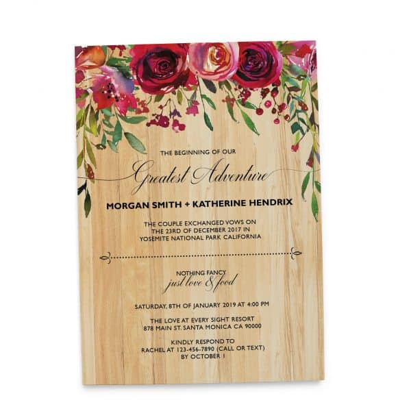 Rustic Elopement Wedding Reception Invitation Cards, BBQ Casual Reception Party Invitation Cards