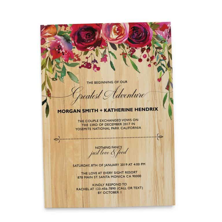 Rustic Elopement Wedding Reception Invitation Cards, BBQ Casual Reception Party Invitation Cards elopement133