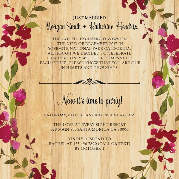 Rustic Floral Casual BBQ Reception Invitation Party, Wedding Elopement Reception Cards