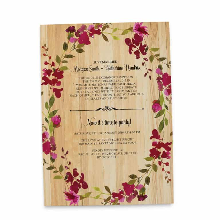 Rustic Floral Casual BBQ Reception Invitation Party, Wedding Elopement Reception Cards elopement135