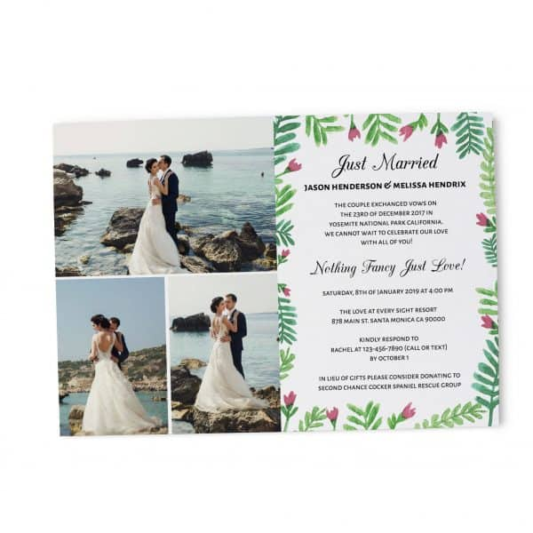Just Married We Eloped Party Invites, Nothing Fancy Just Love Wedding Reception Invitation Cards, Add Your Photos