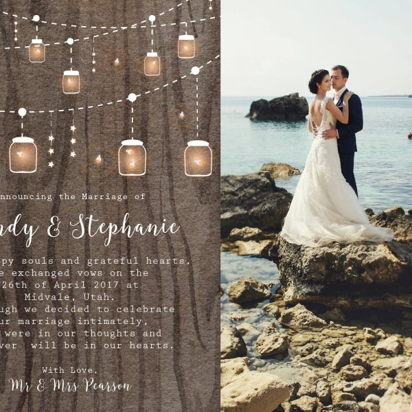Rustic Elopement Cards, String Lights Elopement Announcement Cards