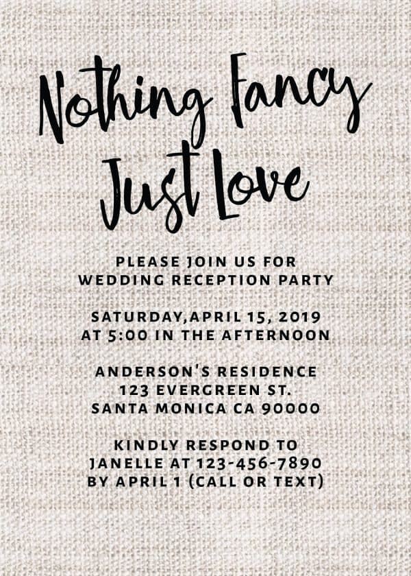 Rustic Burlap Nothing Fancy Just Love, Casual BBQ Party Invitation Cards