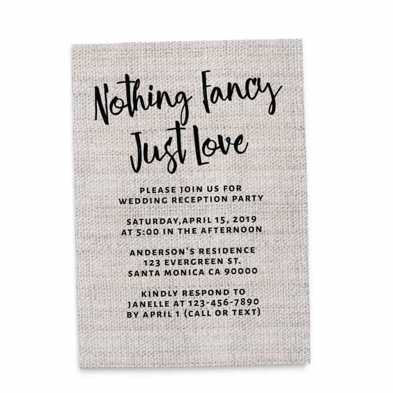 Rustic Burlap Nothing Fancy Just Love, Casual BBQ Party Invitation Cards elopement142