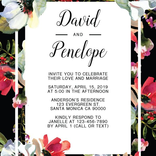 Elegant Wedding Reception Invitation Cards, Floral and Classic Elopement Cards
