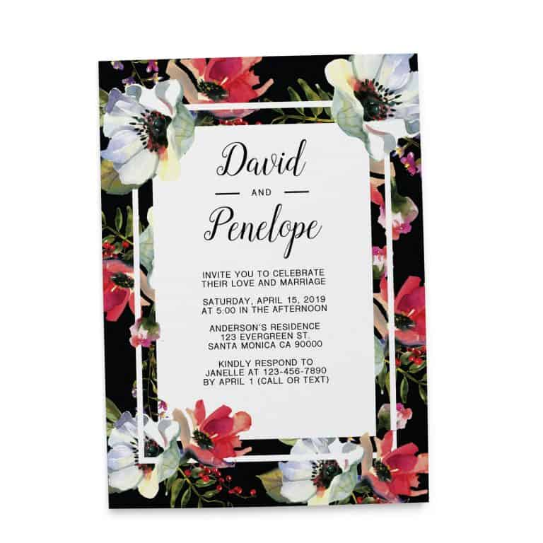 Elegant Wedding Reception Invitation Cards, Floral and Classic Elopement Cards elopement143
