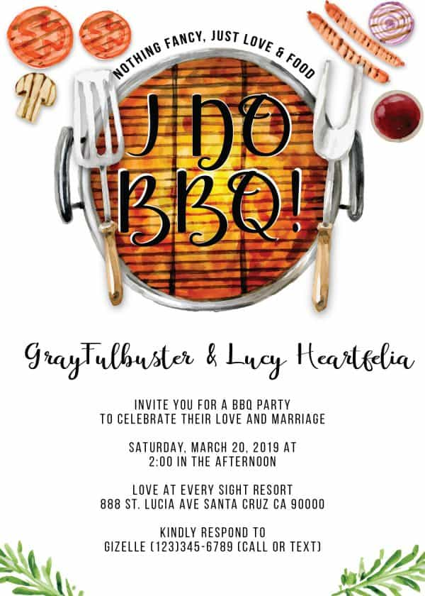I do BBQ Wedding Reception Invitation Cards, Elopement Wedding Reception Cards
