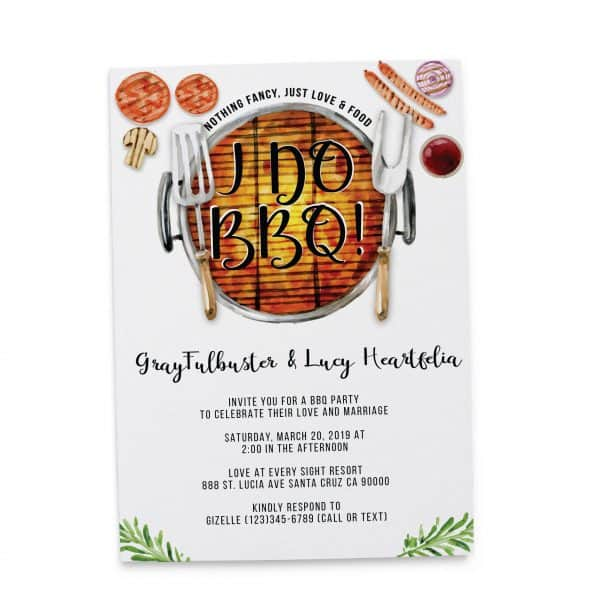 I do BBQ Wedding Reception Invitation Cards, Elopement Wedding Reception Cards