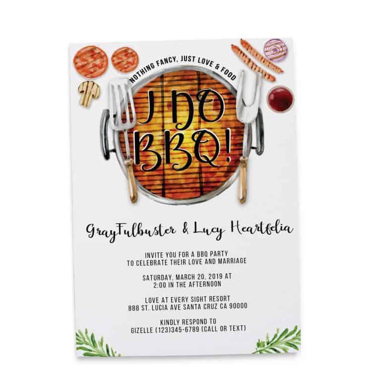 I do BBQ Wedding Reception Invitation Cards, Elopement Wedding Reception Cards elopement145
