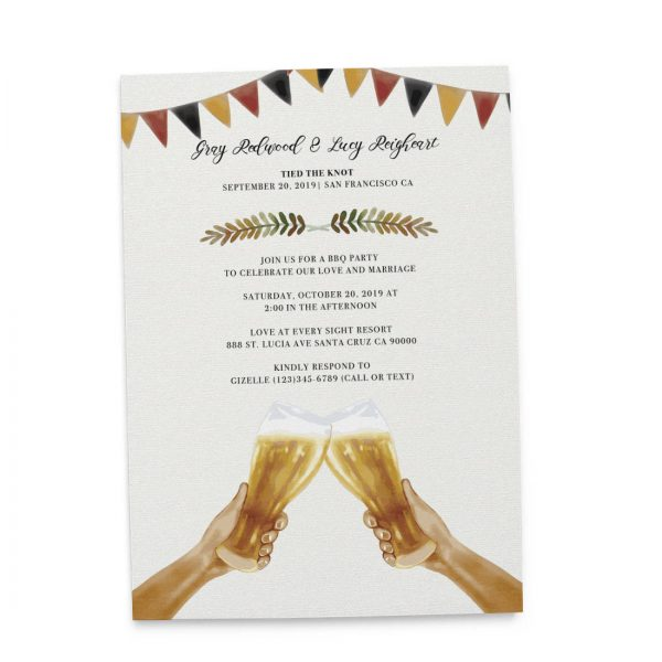 Tied The Knot BBQ Casual Party Invitation Cards, Wedding Elopement Invitation Cards with Beers