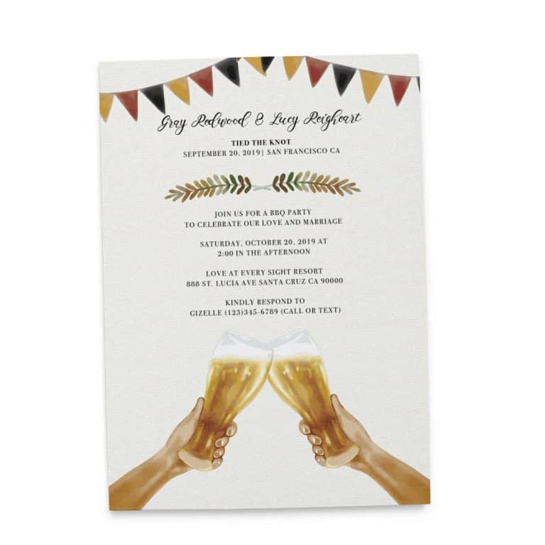Tied The Knot BBQ Casual Party Invitation Cards, Wedding Elopement Invitation Cards with Beers elopement146