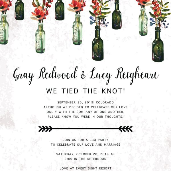 Rustic We Tied The Knot BBQ Casual Party Invitation Cards, Elopement Wedding Reception Cards