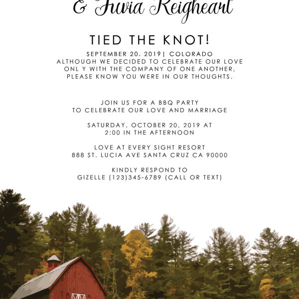 Rustic Tied the Knot Barn Wedding Reception Invitation, BBQ Party Invitation Cards, Casual Party Invitation Cards