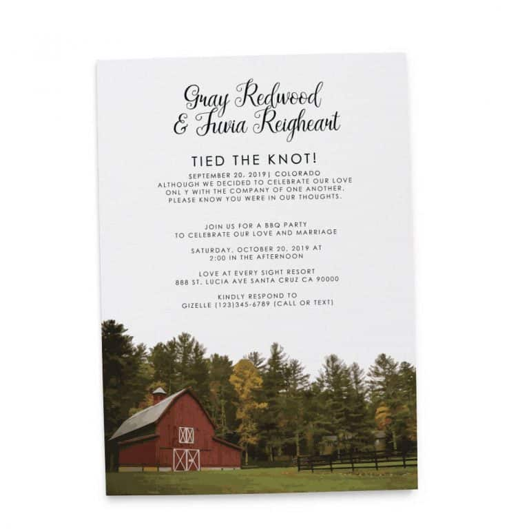 Rustic Tied the Knot Barn Wedding Reception Invitation, BBQ Party Invitation Cards, Casual Party Invitation Cards elopement150