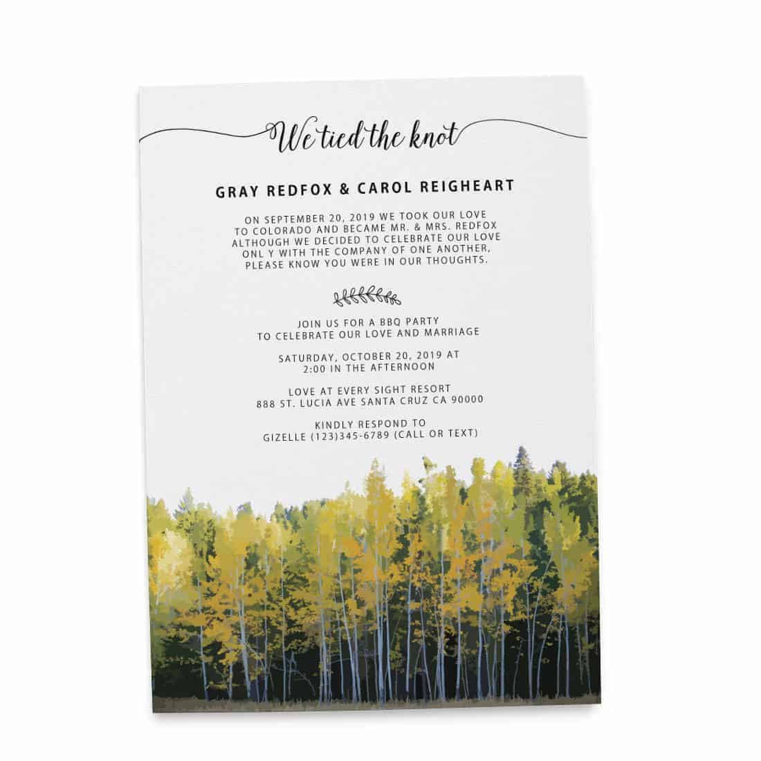 We Tied The Knot Fall, Autumn, BBQ Party Invitation, Wedding Reception Cards elopement152