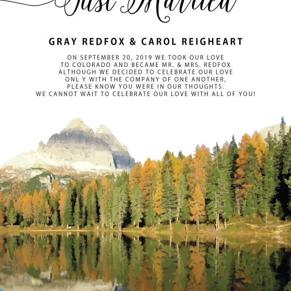 Just Married Wedding Elopement Announcement Cards, Fall Autumn Mountains Wedding Elopement Card, Announcement Cards