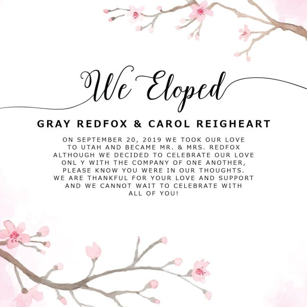 We Eloped Cards, Sakura Cherry Blossom Elopement Announcements, Elopement Announcement Cards