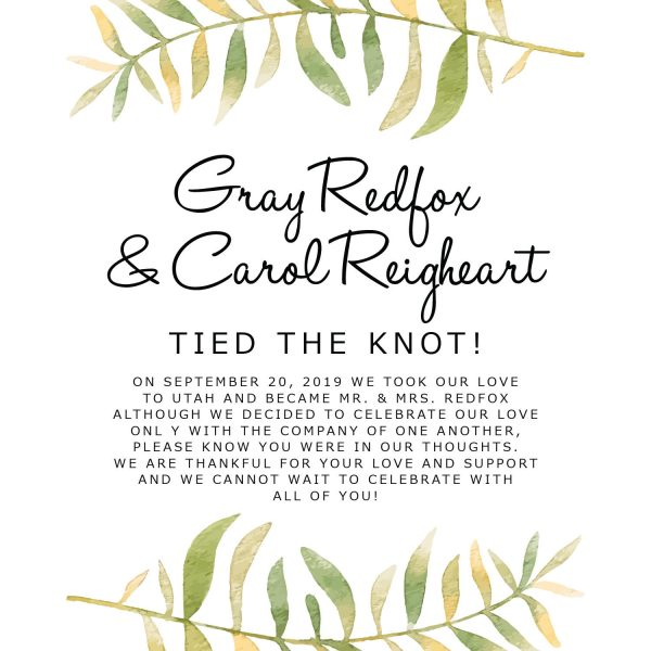 Tied the Knot Cards, Green Branches Elopement Announcements, Elopement Announcement Cards