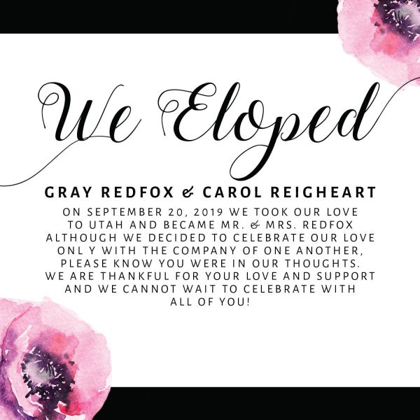 We Eloped Cards, Black and Floral Elopement Announcements, Elopement Announcement Cards