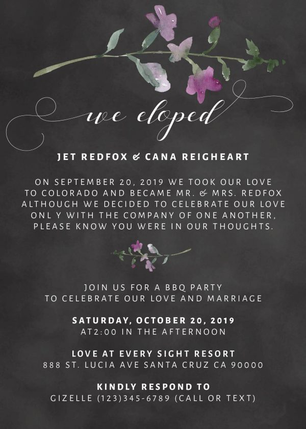 We Eloped Party Invites, BBQ Casual Chalkboard Party Invitations Wedding Reception Invitation Cards