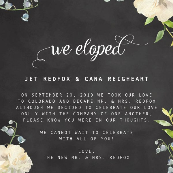 We Eloped Cards, Chalkboard Floral Elopement Announcements, Elopement Announcement Cards