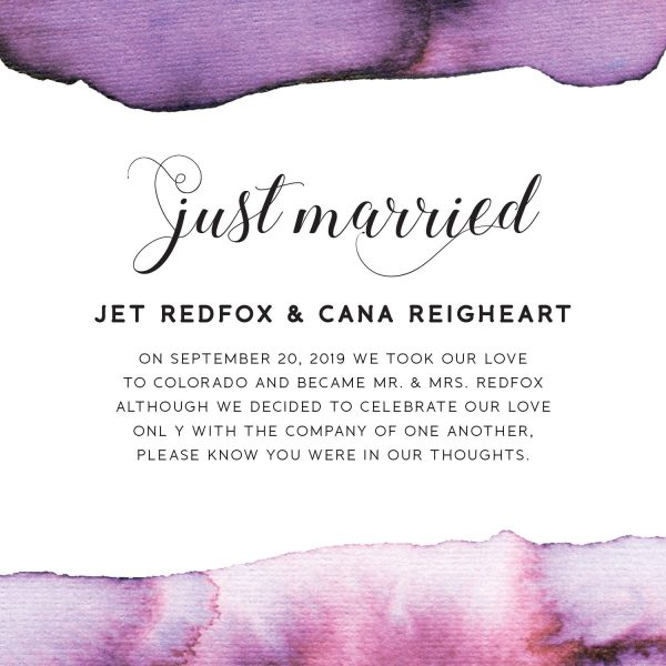Just Married Cards, Elopement Announcements, Purple Watercolor Elopement Announcement Cards