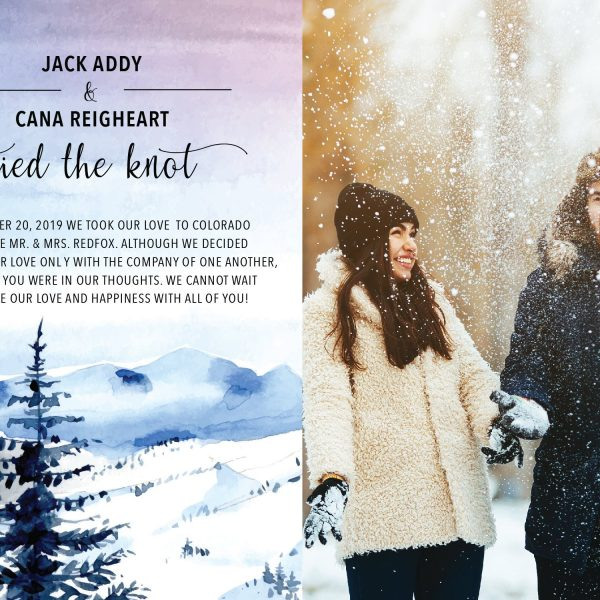 Tied the Knot Cards, Elopement Announcements, Add Your Own Picture Winter Mountains Elopement Cards