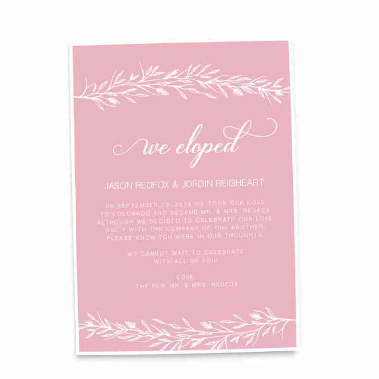 Simple We Eloped Elopement Wedding Announcement Cards