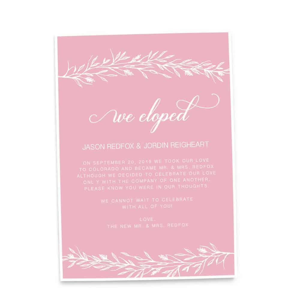 Simple We Eloped Elopement Wedding Announcement Cards