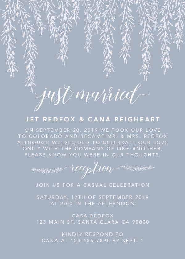 Simple Just Married Elopement Wedding Reception Invitations, Casual Wedding Reception Cards, Printed Printable Wedding Party Card #167