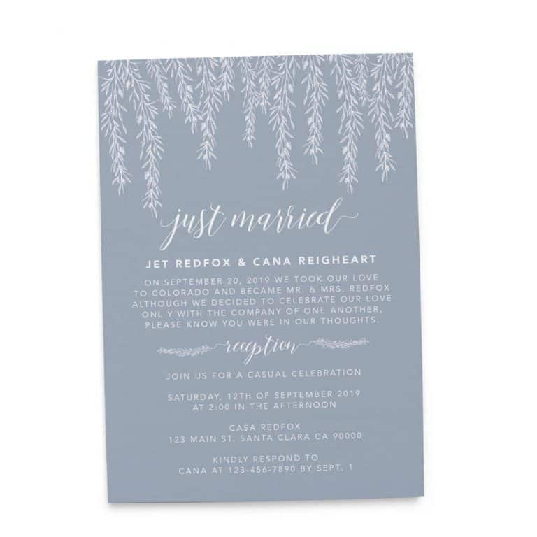 Simple Just Married Elopement Wedding Reception Invitations, Casual Wedding Reception Cards, Printed Printable Wedding Party Card #167 elopement167
