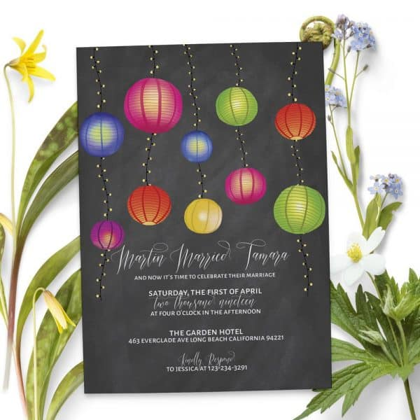 Chalkboard Wedding Reception Invitation Cards, Lanterns and String Lights Elopement Casual, BBQ Party
