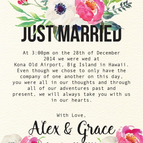 Just Married Elegant Flowers Elopement Announcement Cards