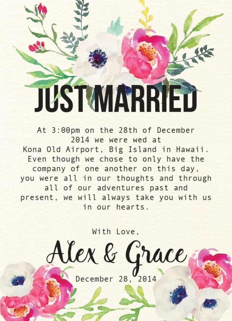 Just Married Elegant Flowers Elopement Announcement Cards