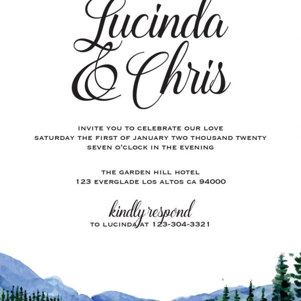 Wedding Reception Invitation Cards, Scenic, Mountains Elopement Wedding Reception Invitations for Casual Party, BBQ Party