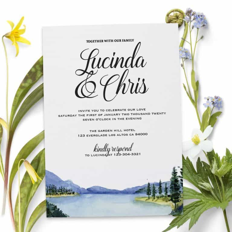Wedding Reception Invitation Cards, Scenic, Mountains Elopement Wedding Reception Invitations for Casual Party, BBQ Party elopement170